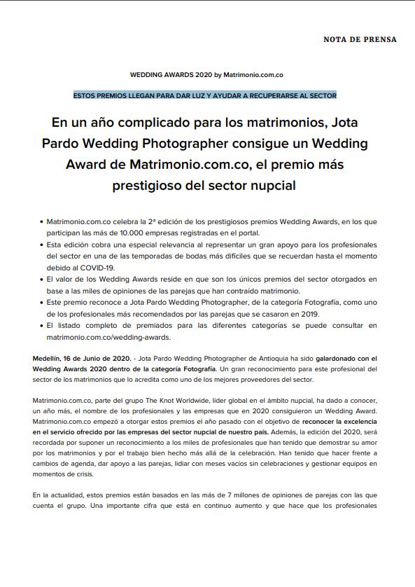 Mejores fotógrafos de bodas y matrimonios en Medellin - premio wedding awards - matrimonio.com.co, mejores fotógrafos de boda 2020 en Medellin, mejores fotógrafos de boda 2021 en Medellin